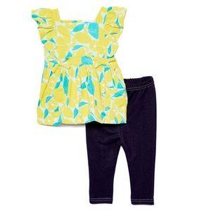Girls Yellow Angel Sleeve Shirt & Navy Jeggings